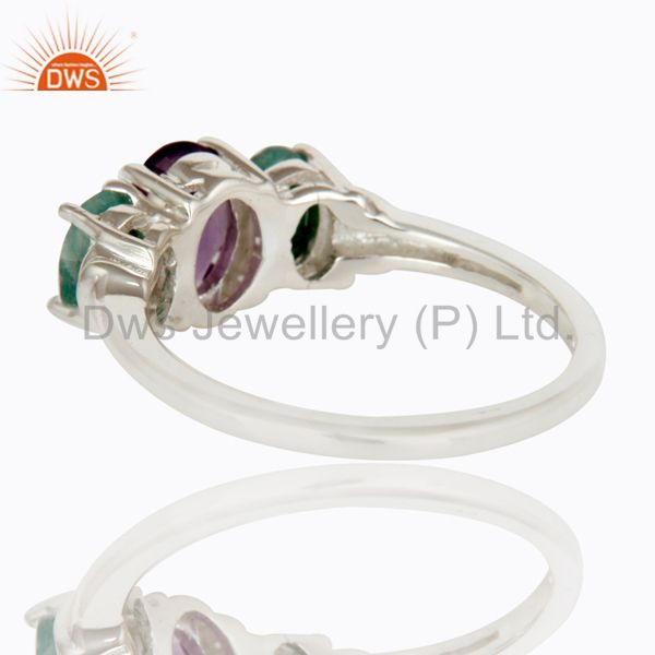 Suppliers 925 Sterling Silver Amethyst And Emerald Gemstone Prong Set Ring