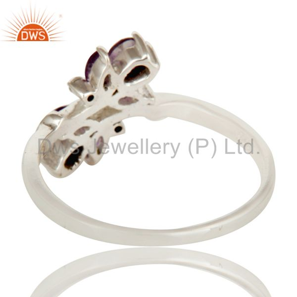 Suppliers Amethyst and White Topaz Solid Sterling Silver Statement Ring Gemstone Ring