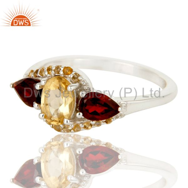 Suppliers Solid Sterling Silver Garnet and Citrine Statement Ring Fine Gemstone Ring