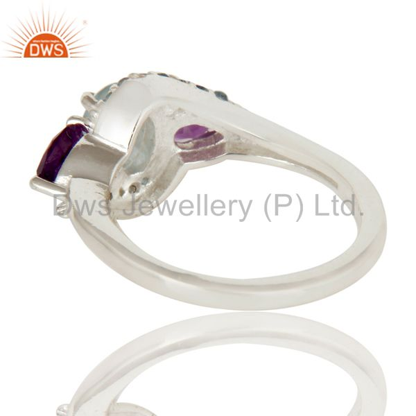 Suppliers Amethyst and Blue Topaz Solid Sterling Silver Statement Ring Fine Gemstone Ring