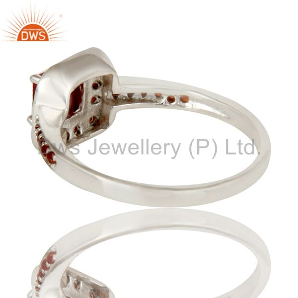 Suppliers 925 Sterling Silver Ruby Natural Corundum and Garnet Gemstone Halo Style Ring