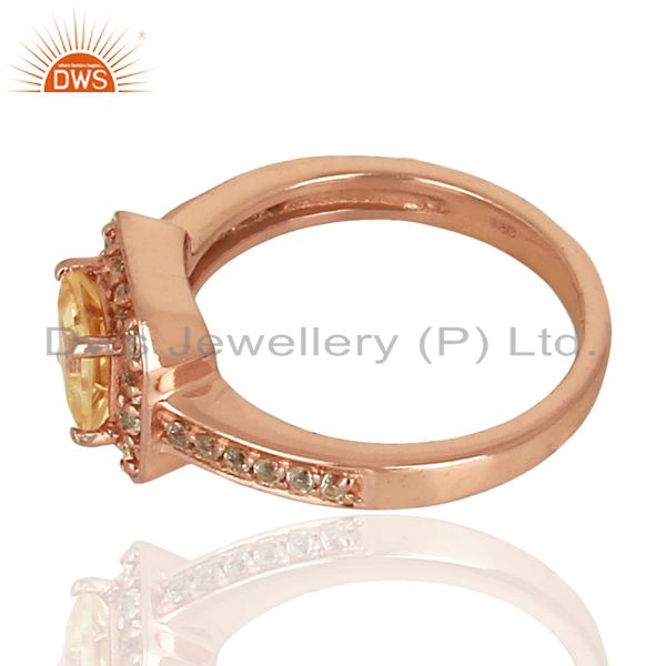 Suppliers 925 Silver Rose Gold Plated Citrine Gemstone Ring