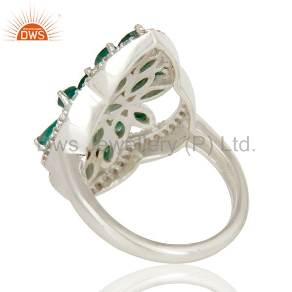 Suppliers 925 Sterling Silver Emerald And White Topaz Gemstone Statement Ring