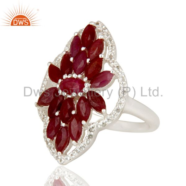 Suppliers Natural Ruby and White Topaz Sterling Silver Statement Ring