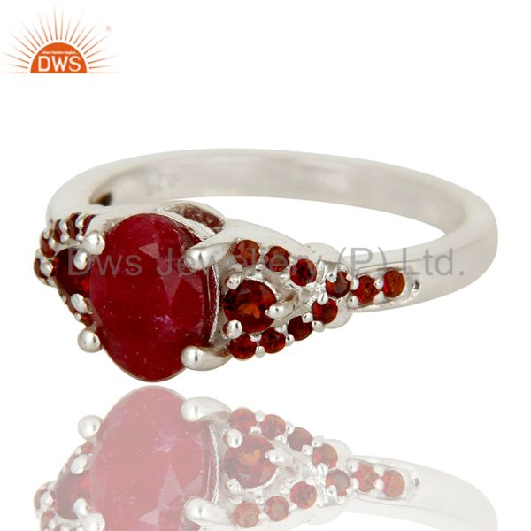 Suppliers Natural Ruby and Garnet Sterling Silver Gemstone Halo Statement Ring