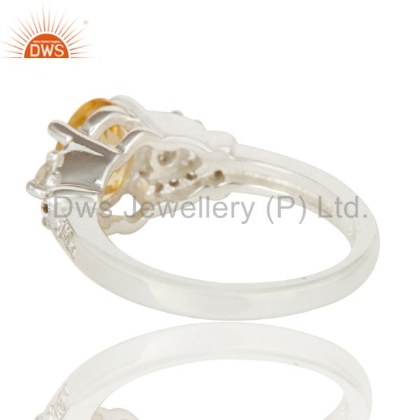 Suppliers 925 Sterling Silver Citrine And White Topaz Gemstone Statement Ring