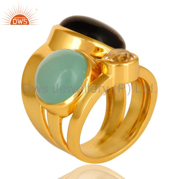 Suppliers High Polish 14K Yellow Gold Plated Brass Black Onyx And Blue Chalcedony Ring