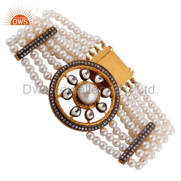 Suppliers Designer Natural Pearl Beads 18k Gold GP Cubic Zirconia Crystal Polki Bracelets
