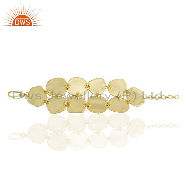 Suppliers Pink Tourmaline Gemstone Solid 925 Silver Gold Plated Bracelet Manufacturers