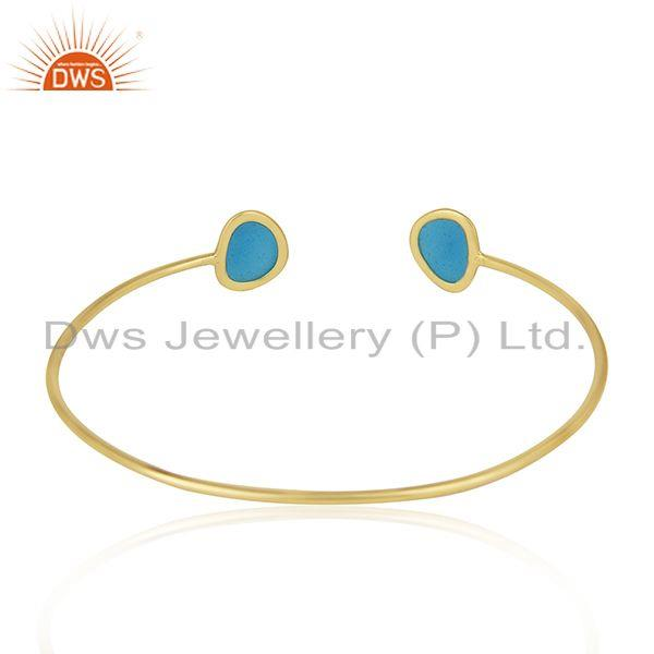 Suppliers Handmade Blue Enamel 925 Sterling Silver Gold Plated Cuff Bracelet