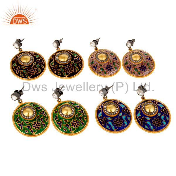 Suppliers 22K Yellow Gold Plated Sterling Silver CZ Polki And Enamel Design Dangle Earring