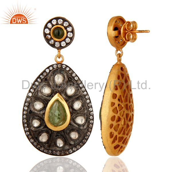 Suppliers 18K Gold Plated Sterling Silver Tourmaline Antique Style Crystal Polki Earrings