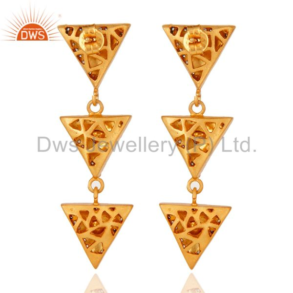 Suppliers Gold Plated 925 Silver Crystal Quartz Polki Victorian Estate Fashion Earrings