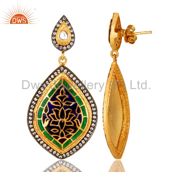 Suppliers 18K Yellow Gold Plated Sterling Silver CZ And Enamel Design Dangle Earrings