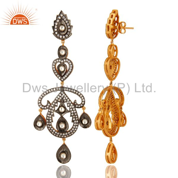 Suppliers 22K Yellow Gold Over Brass Cubic Zirconia Polki Victorian Style Dangle Earrings