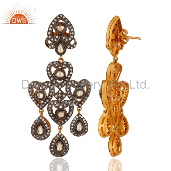 Suppliers Vintage Look Gold Plated Sterling Silver Bridal CZ Crystal Chandelier Earrings