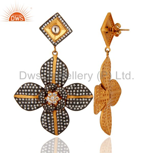Suppliers 925 Sterling Silver Yellow Gold Plated CZ Flower Design Bridal Fashion Earrings