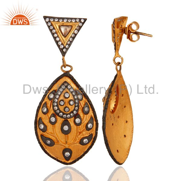 Suppliers 18K Gold Plated 925 Sterling Silver White Cubic Zirconia Modern Fashion Earring