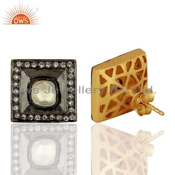Suppliers Oxidized Sterling Silver CZ Crystal Polki Antique Look Square Stud Earrings