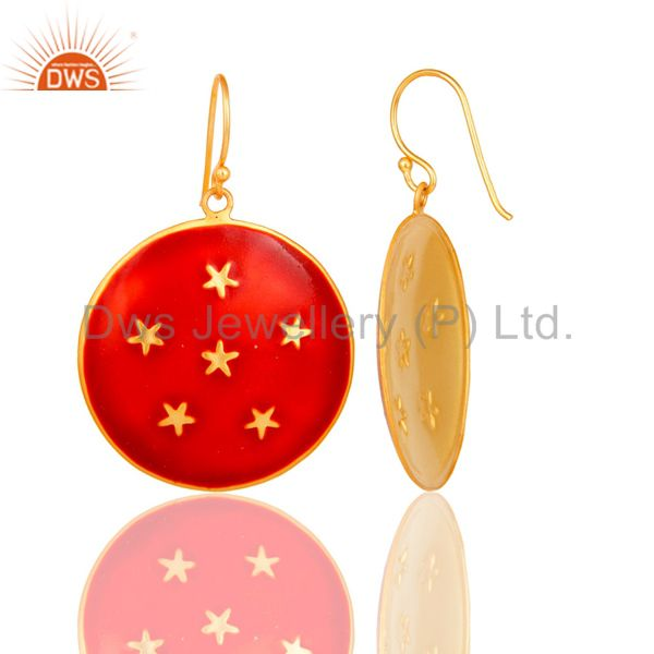 Suppliers 18K Yellow Gold Plated Red Enamel Star Design Ladies Fashion Hook Brass Earrings