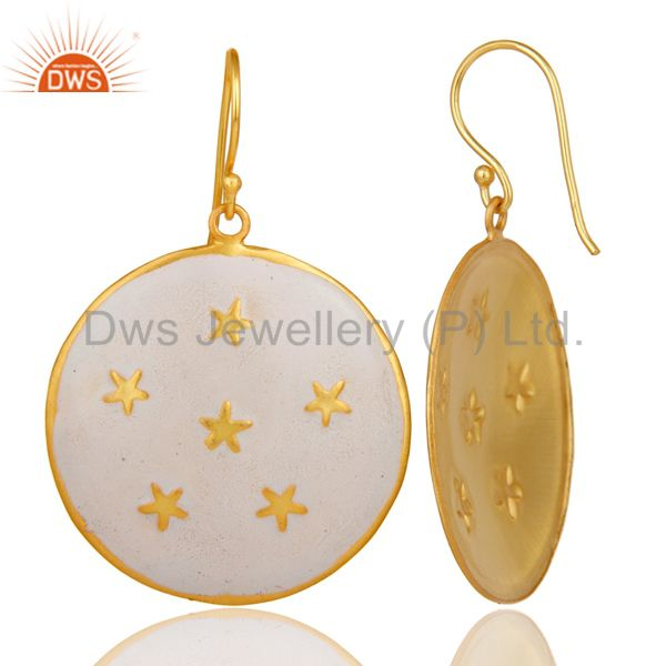 Suppliers 18K Gold Plated White Enamel Star Design Ladies Fashion Hook Brass Earrings
