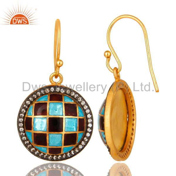 Suppliers 18K Yellow Gold Plated Sterling Silver CZ And Enamel Designer Disc Earrings