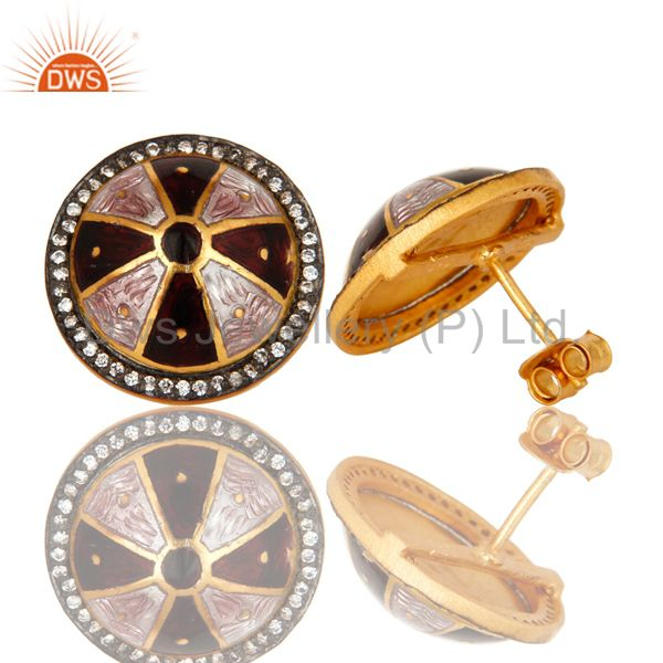 Suppliers 18K Yellow Gold Plated Sterling Silver CZ And Enamel Work Womens Stud Earrings