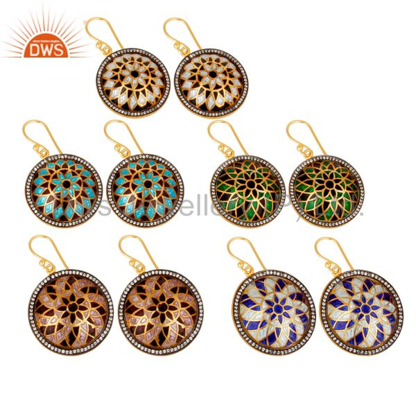 Suppliers 18K Gold Plated Sterling Silver CZ And Enamel Floral Design Dangle Earrings