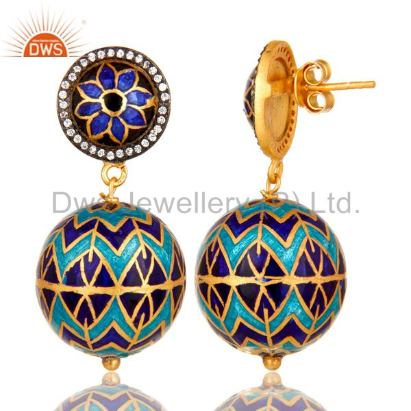 Suppliers 18K Gold Plated Sterling Silver CZ And Enamel Disc Design Dangle Earrings