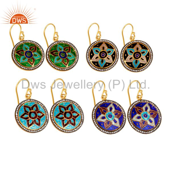 Suppliers 18K Gold Plated Sterling Silver Enamel Design Disc Dangle Earrings With CZ