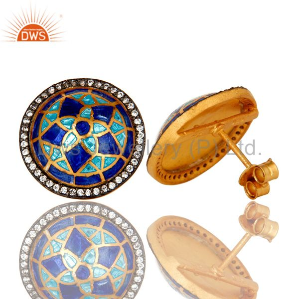 Suppliers 18K Gold Plated Sterling Silver CZ And Blue Enamel Design Round Stud Earrings