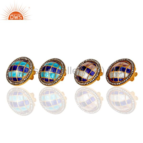 Suppliers 18K Yellow Gold Plated Sterling Silver CZ And Vintage Enamel Design Stud Earring