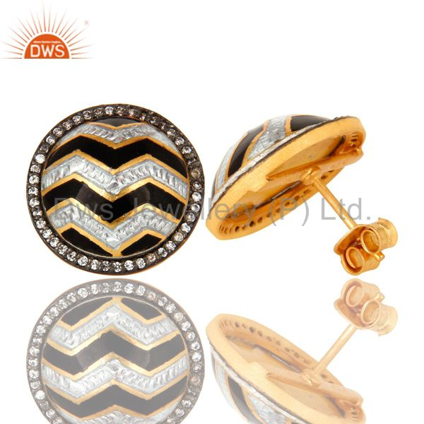 Suppliers 18K Gold Plated Sterling Silver Black And White Enamel Design Stud Earrings