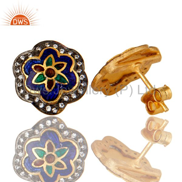 Suppliers 18K Gold Plated Sterling Silver Enamel Work Ethnic Fashion Stud Earrings With CZ