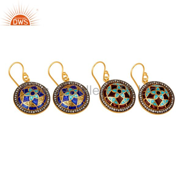 Suppliers 22K Yellow Gold Plated Sterling Silver CZ And Enamel Design Disc Dangle Earrings