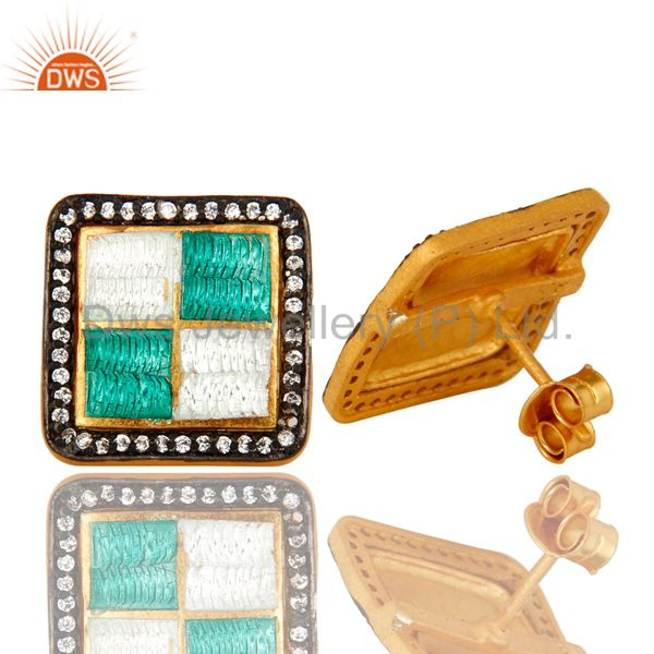 Suppliers 22K Yellow Gold Plated Sterling Silver CZ And Enamel Design Square Stud Earrings