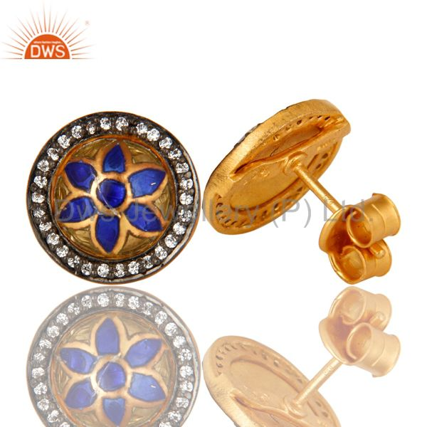 Suppliers 22K Yellow Gold Plated Sterling Silver CZ And Enamel Design Round Stud Earrings