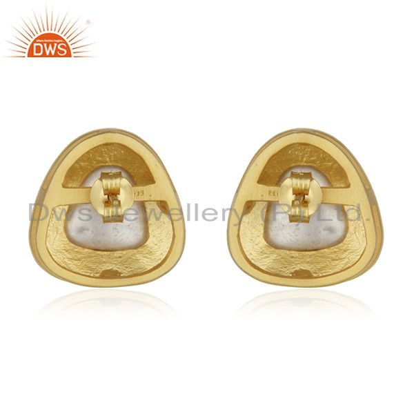 Suppliers Gold Plated Sterling Silver Crystal Quartz Polki Stud Earrings With Green Enamel