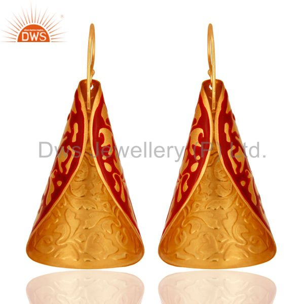 Suppliers 14K Yellow Gold Plated Brass Handmade Designer Earrings With Red Enamel