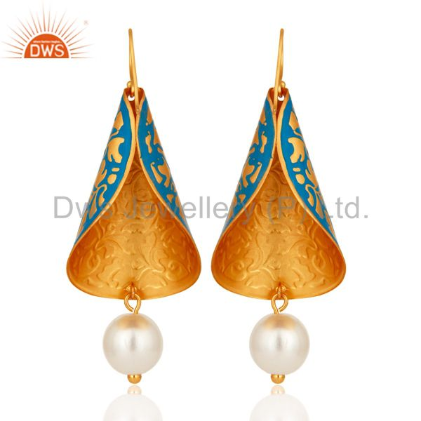 Suppliers Natural Pearl Blue Enamel Indian Artisan Made Designer Earrings With Gold Vermei