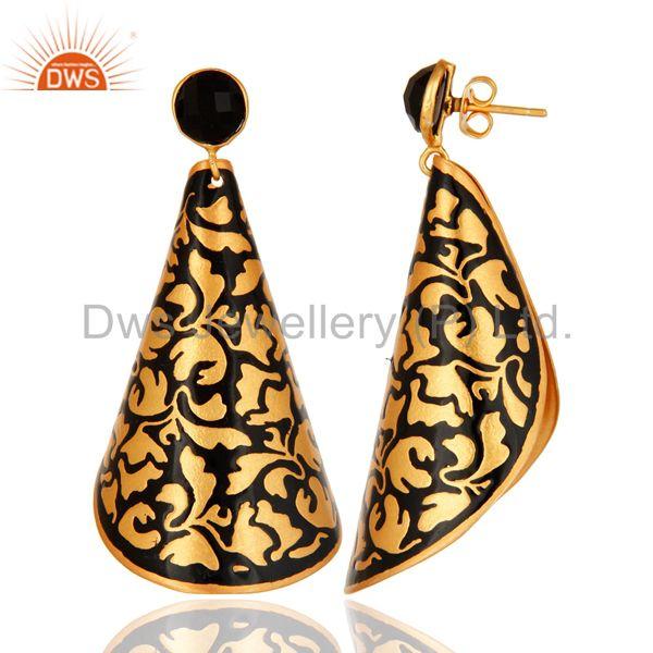 Suppliers 18K Yellow Gold Plated Brass Handmade Black Enamel Designer Earrings With Onyx