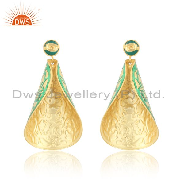 Suppliers 18k Gold Plated Green Onyx Handmade Unique Designer Earrings With Enamel Work