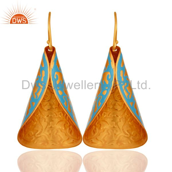 Suppliers Yellow Gold Plated Blue Chalcedony Artisan Made Enamel Paint Designer Earrings
