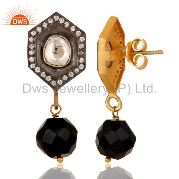 Suppliers Black Onyx and Crystal Polki Black and Yellow Gold Plated 925 Silver Earring