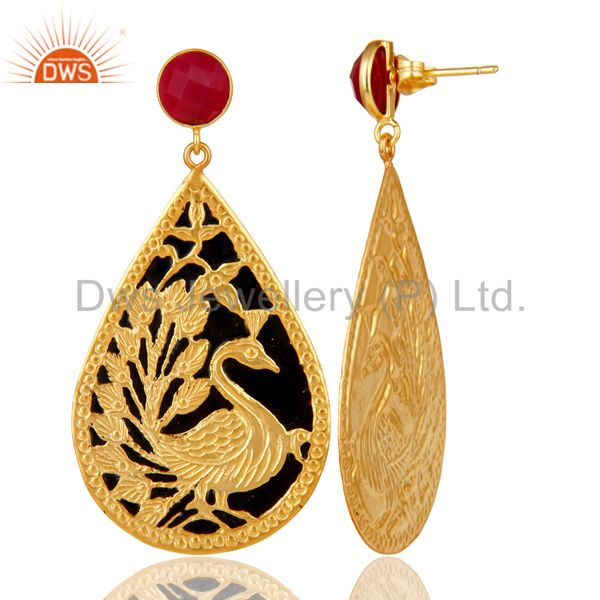 Suppliers 18K Gold Plated Chalcedony Beautiful Handcrafted Peacock Dangle Enamel Earrings