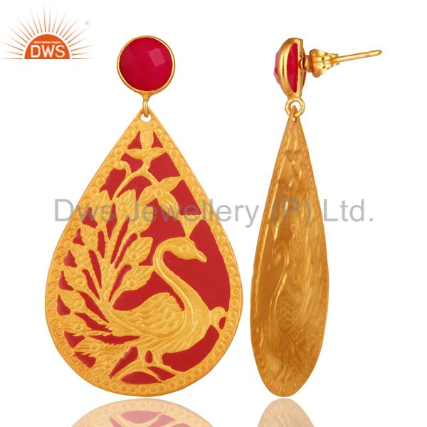 Suppliers 18K Gold Plated Pink Chalcedony Beautiful Handcrafted Peacock Dangle Earrings