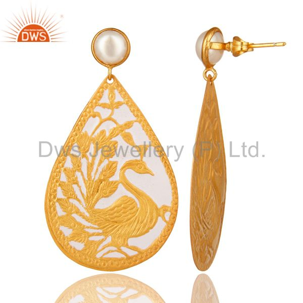 Suppliers 18K Gold Plated Natural Pearl Handmade Designer Peacock Earrings - White Enamel