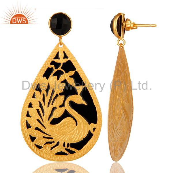 Suppliers 18K Gold Plated Natural Black ONyx Peacock Designer Earrings With Black Enamel