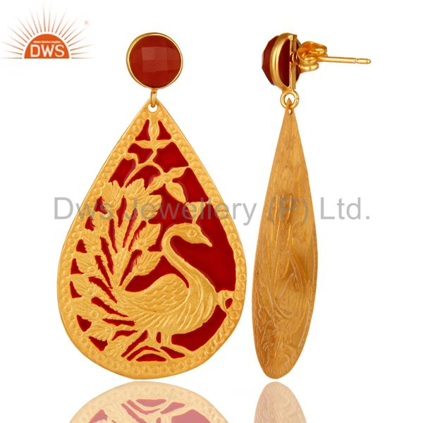 Suppliers 18K Yellow Gold Over Brass Handmade Red Onyx Designer Dangle Earrings With Ename