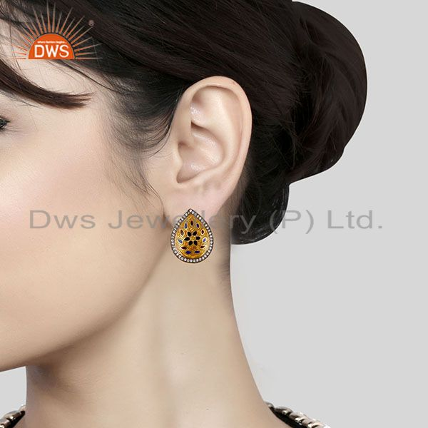 Suppliers 18K Gold Plated 925 Sterling Silver White Zirconia Enamel Studs Earrings